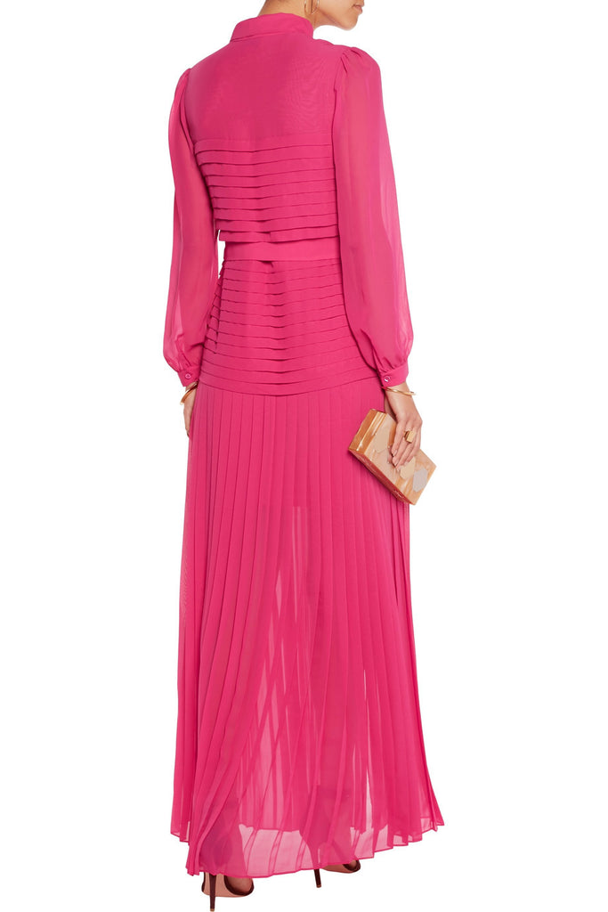 Fuschia Sahara Pleated Chiffon Gown