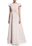Nude Cap Sleeves Embellished Ball Gown