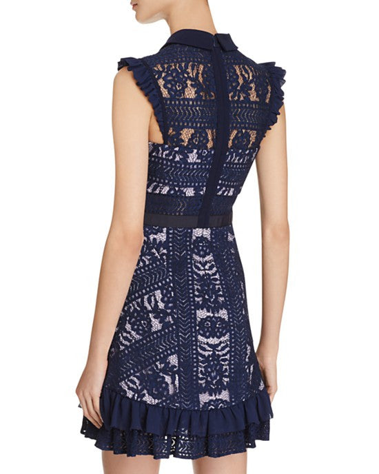 Navy Juniper Lace with Ruffle Dress