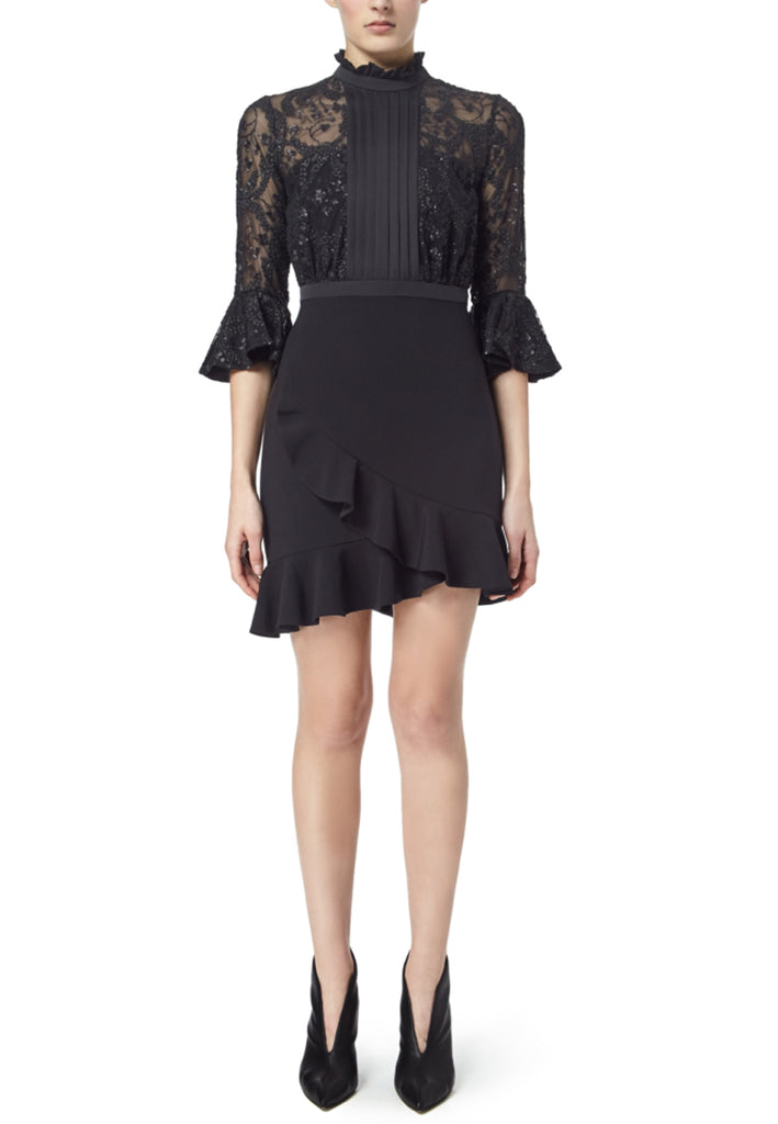Black Embellsihed Ruffled Sleeves Dark Knight Mini Dress