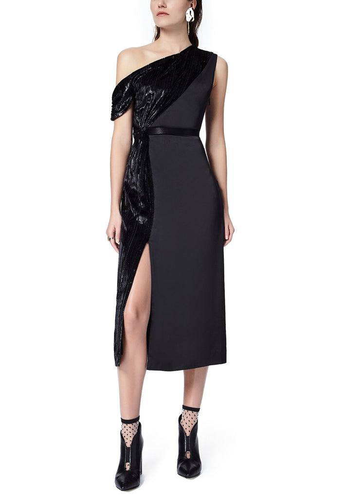 Black On & Off One Shoulder Lurex Midi Dress