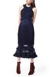 Navy Chance To Dance Ruffles Midi Dress (UK 8)