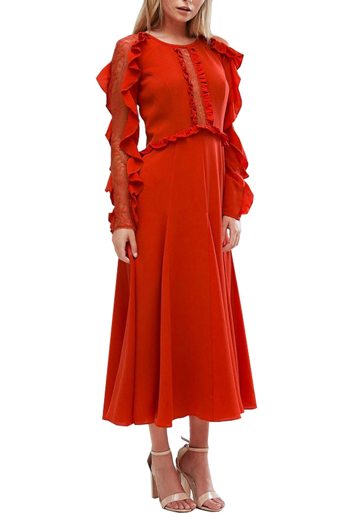 Red Frill and Lace Long Sleeves Midi Dress