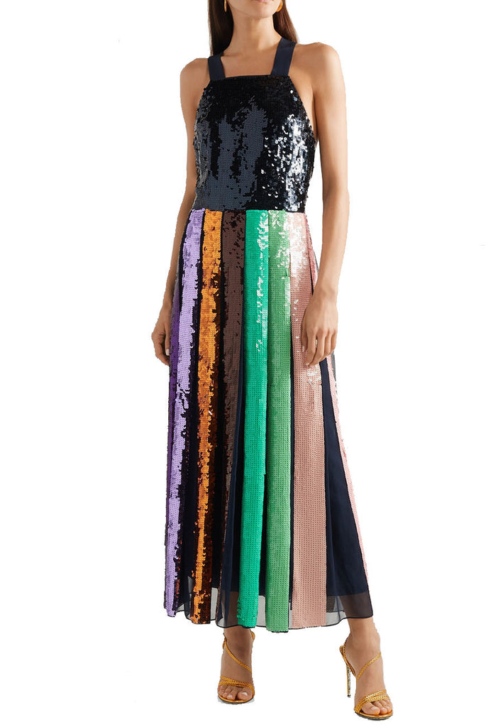 Black Multicolour Sequins Stripe Silk Midi Dress