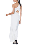 White Tien One Shoulder Cutout Maxi Dress