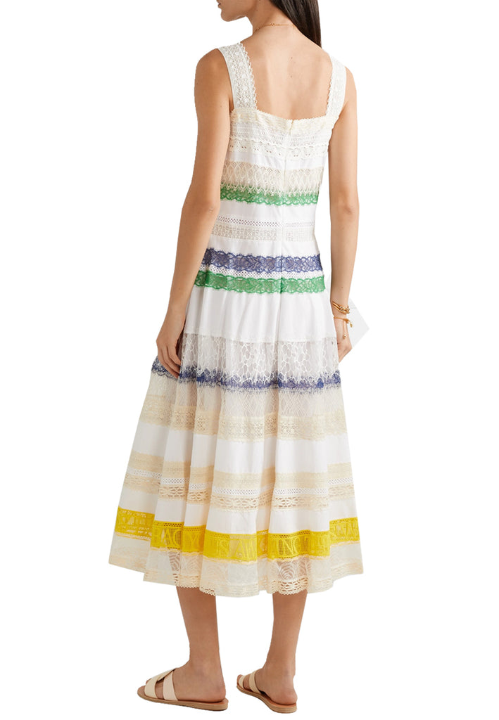 White Multicolour Lace Trim Tea Length Dress