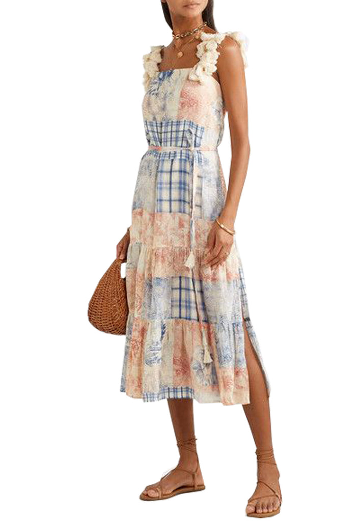 Beige Tassels Patchwork Midi Dress