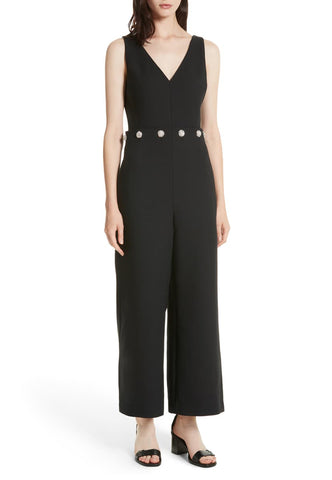 Black Metallic Mei Long Sleeves Cutout Jumpsuit