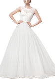 White Lace And Tulle Cap Sleeves Wedding Ball Gown