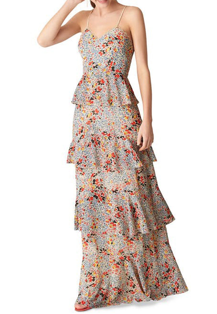 Floral Print Anette Ruffled Tier Maxi Dress