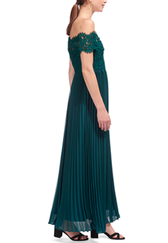 Emerald Bardot Off Shoulder Lace Pleated Gown