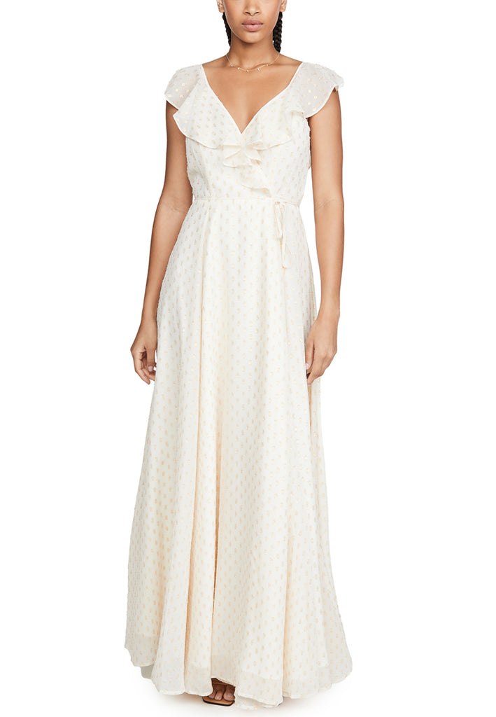 Ivory Iris Polka Dot Wrap Maxi Dress