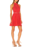 Red Zinnia Polka Dot Halter Neck Mini Dress