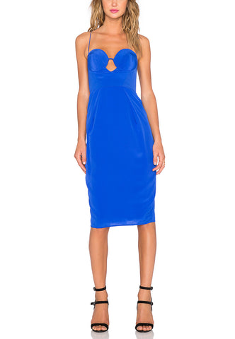 Blue Rebecca Tonal Stripe Lace Dress