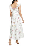 White Allia Cross Stitch Floral Print Midi Dress