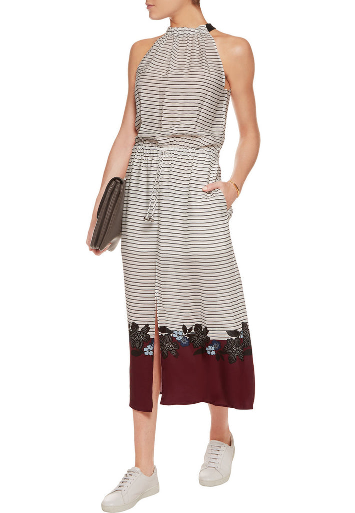 White Stripe Printed Silk Georgette Maxi Dress