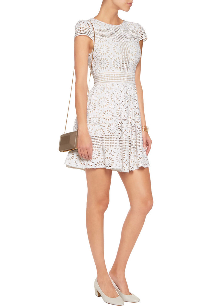 02a6c999f3f Alice + Olivia White Imani Geometric Lace Mini Dress