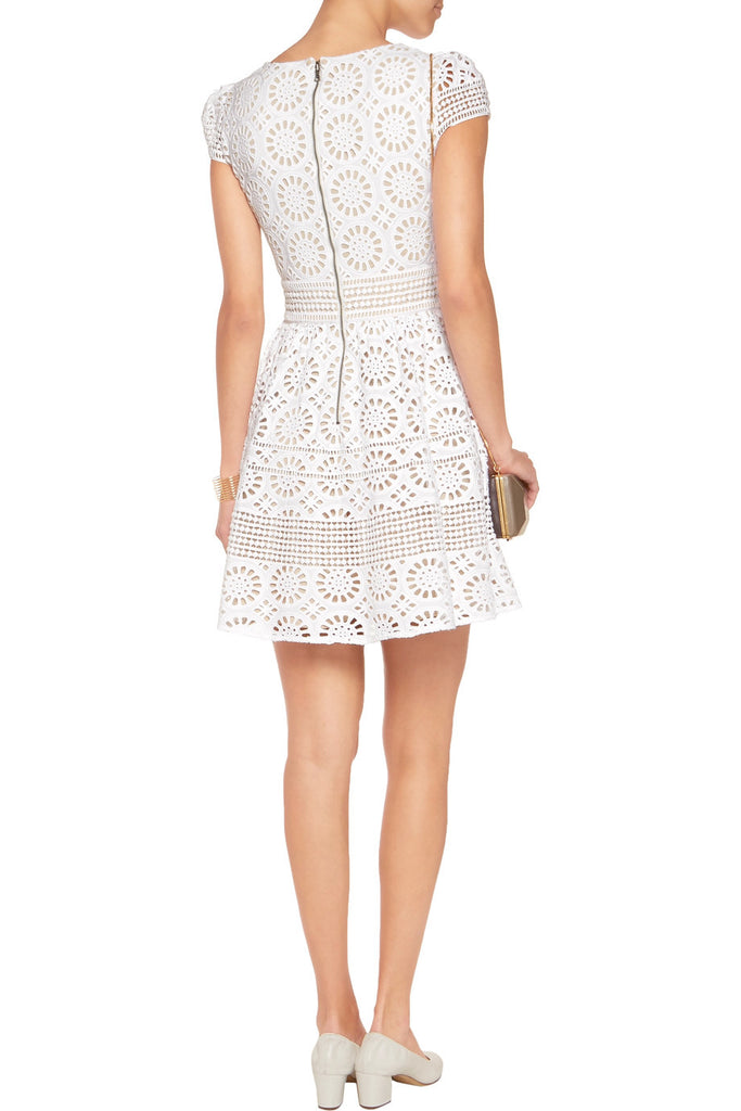 White Imani Geometric Lace Mini Dress
