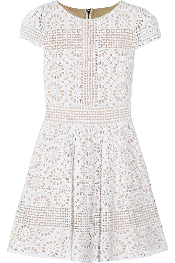 White Imani Geometric Lace Mini Dress (Pre-loved)