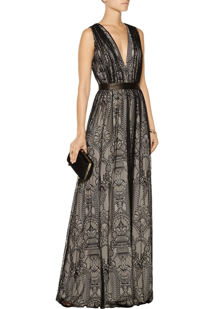 a86fe17b88 Alice + Olivia Black Sybil Plunging Lace Gown