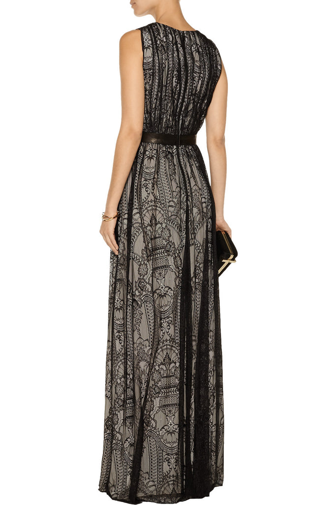 Black Sybil Plunging Lace Gown