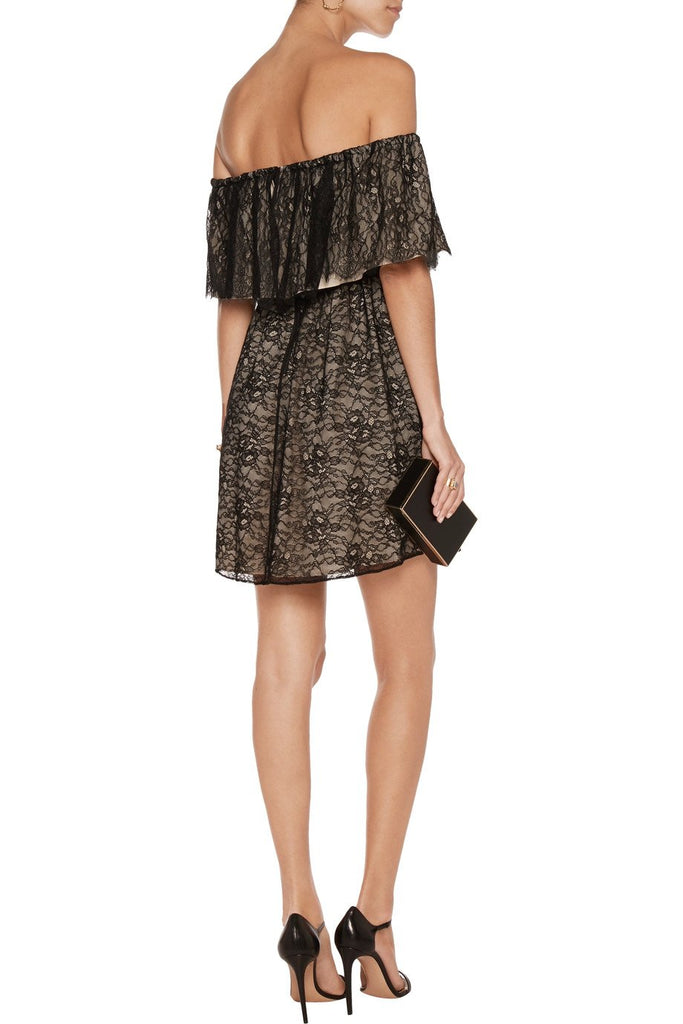Black Suzy Off The Shoulder Lace Mini Dress (Pre-loved)