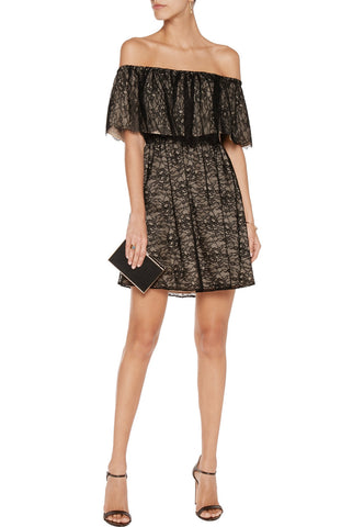 Black Lois Pleated Lace Dress