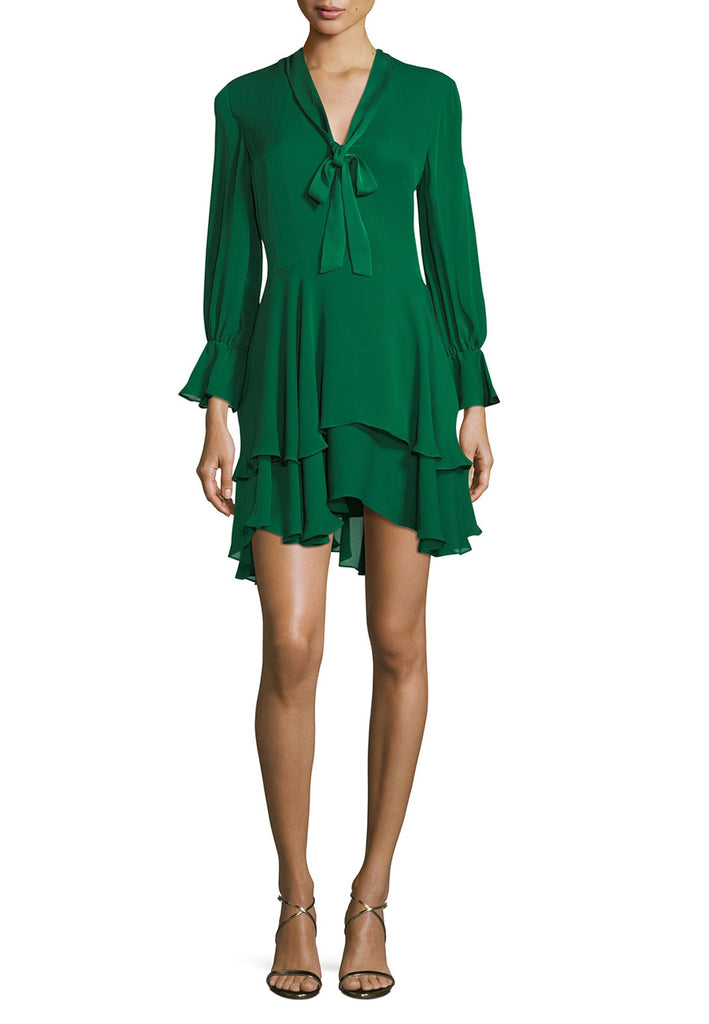 Emerald Green Moore Silk Ruffles Mini Dress