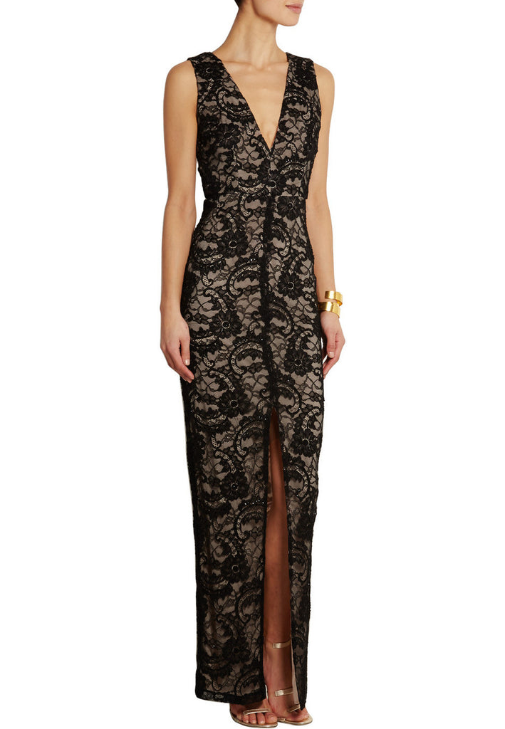 Black Caragen Embellished Guipure Lace Gown
