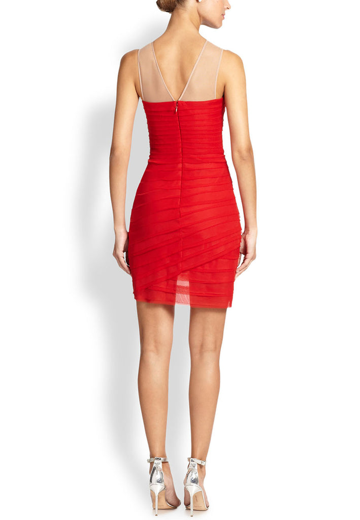9cbe3a7d9be BCBGMAXAZRIA Red Maia Embellished Illusion Necklace Dress ...