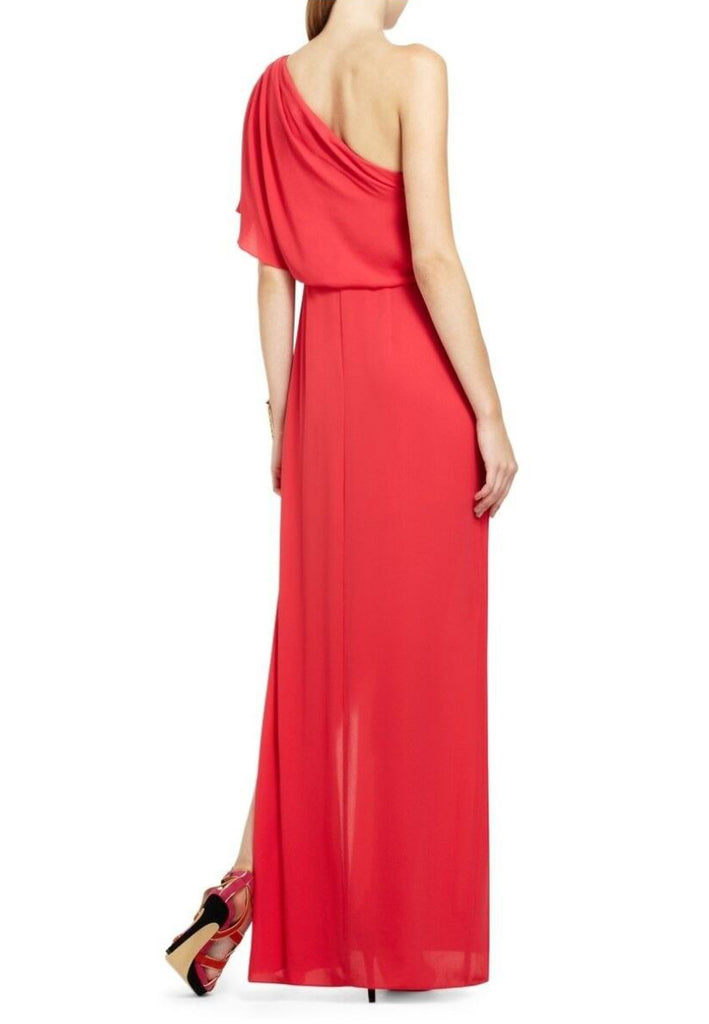 Red Secha One Shoulder Draped Maxi Dress