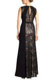 Black Linden Leaf Panel Lace Gown
