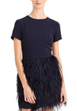 Navy Brionia Feather Mini Dress