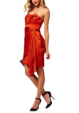 Orange Mahiki Satin Strapless Mini Dress