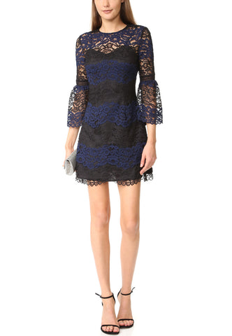 Navy Floral Lace with Pocket Midi Dress