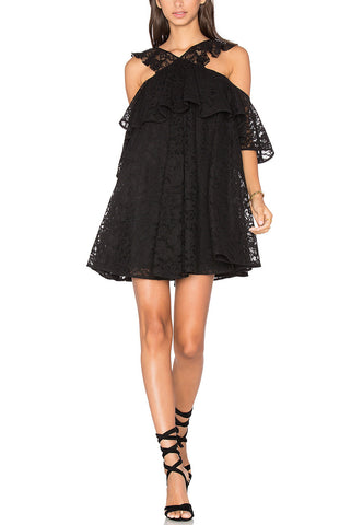 Black and Navy Colour Block Bell Sleeve Lace Dress