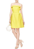 Yellow Strapless Sculptural Twill Dress