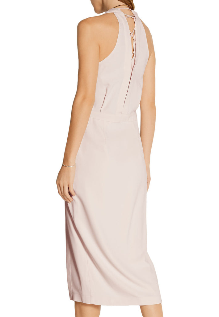Nude Wrap Effect Criss Cross back Dress