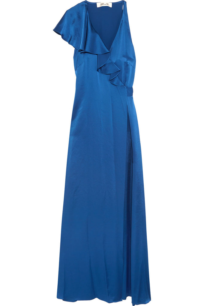 Royal Blue Ruffled Satin Wrap Maxi Dress