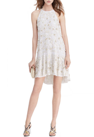 White Dotted Tulle Ruffle Neoprene Dress