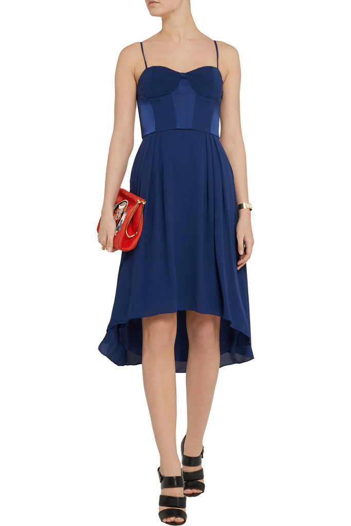 Navy Bustier Satin Panel Midi Dress