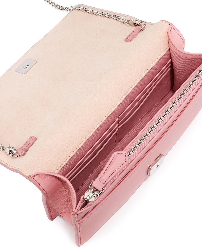 Pink Tube Wallet On Chain Crossbody Clutch Bag