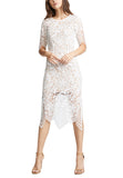 White Luna Eyelash Lace Open Back Midi Dress