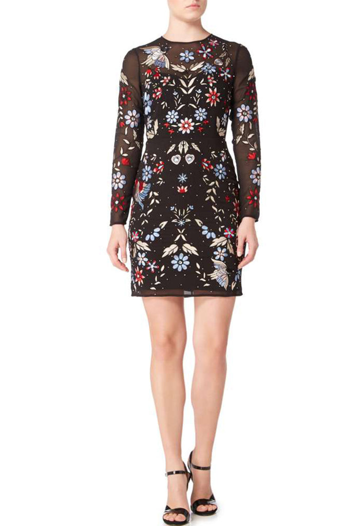 732cfc73a9 Black Floral Embroidered Mini Dress; Black Floral Embroidered Mini Dress ...