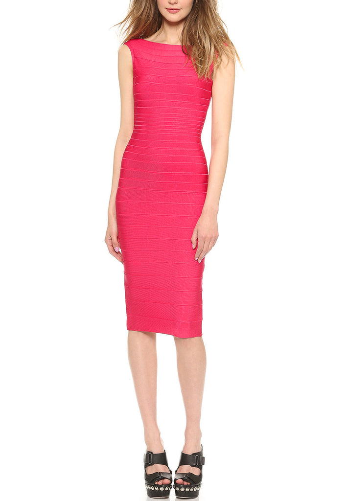 Red Ardell Banadage Midi Dress ­