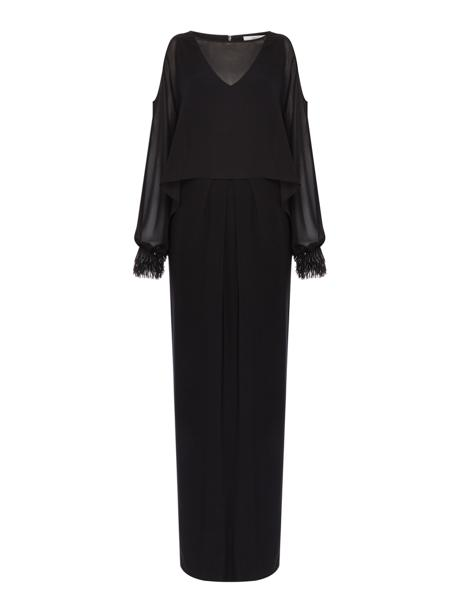 Black Embellished Cuff Cold Shoulder Gown