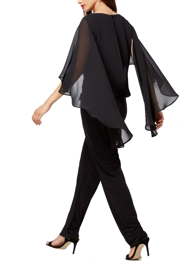 Black Willow Sheer Batwing Sleeves Jumpsuit