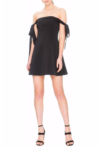 Black Monochrome Nova Pleated Mini Dress
