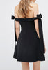 Black Another World Off The Shoulder with Bows Mini Dress