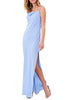Blue Needed Me Asymmetrical Shoulder Maxi Dress